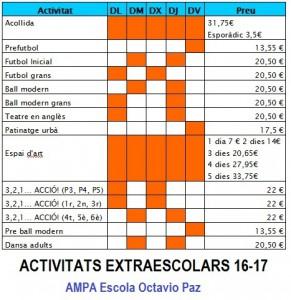 Activitats extraescolars 16-17